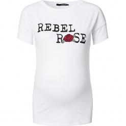 """Koszulka ciążowa """"Rose"""" w kolorze białym. Białe bralety Noppies Women, xs, z nadrukiem, z okrągłym kołnierzem, moda ciążowa. W wyprzedaży za 73,95 zł."""