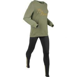 Bluza z legginsami sportowymi (kompl. 2-częściowy) bonprix oliwkowo-czarny. Czarne bluzy sportowe damskie bonprix. Za 129,99 zł.