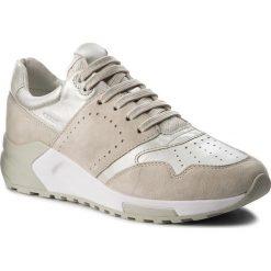 Sneakersy GEOX - D Phyteam A D724DA 022BV C0997  Ivory/Platinum. Brązowe sneakersy damskie Geox, z materiału. W wyprzedaży za 299,00 zł.