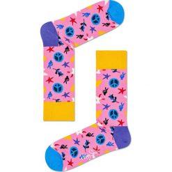 Happy Socks - Skarpetki Peace & Love. Różowe skarpetki damskie Happy Socks, z bawełny. W wyprzedaży za 29,90 zł.