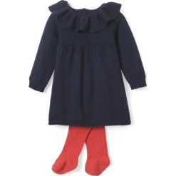 Zestaw: sukienka + rajstopy 1 mies. - 3 lata. Czerwone sukienki niemowlęce La Redoute Collections, z bawełny, z długim rękawem, długie, maxi. Za 95,72 zł.