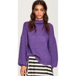 Sweter z golfem - Fioletowy. Fioletowe golfy damskie marki DOMYOS, l, z bawełny. Za 139,99 zł.
