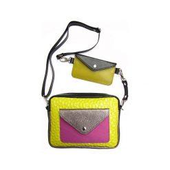 Torebka Double Bag - limonkowy żółw. Brązowe torebki klasyczne damskie Pakamera, ze skóry. Za 460,00 zł.