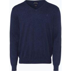 Polo Ralph Lauren - Sweter męski, niebieski. Niebieskie swetry klasyczne męskie marki Polo Ralph Lauren, m, z haftami, z dzianiny, z dekoltem w serek. Za 629,95 zł.