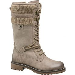 Kozaki damskie Highland Creek szarobrązowe. Czarne buty zimowe damskie marki Kazar, ze skóry, na wysokim obcasie. Za 179,90 zł.
