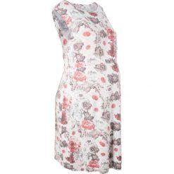 Sukienka ciążowa shirtowa bonprix jasnoróżowo-szary z nadrukiem. Czerwone sukienki ciążowe marki bonprix, do pracy, z nadrukiem, z wiskozy, biznesowe, moda ciążowa. Za 109,99 zł.