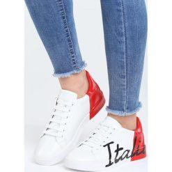 Biało-Czerwone Buty Sportowe Girls Go Bad. Białe buty sportowe damskie marki Born2be, z materiału. Za 79,99 zł.