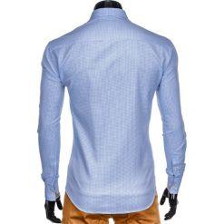 KOSZULA MĘSKA Z DŁUGIM RĘKAWEM K411 - BIAŁA/BŁĘKITNA. Brązowe koszule męskie marki Ombre Clothing, m, z aplikacjami, z kontrastowym kołnierzykiem, z długim rękawem. Za 49,00 zł.