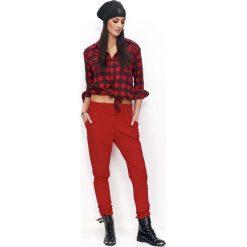 Spodnie dresowe damskie: Czerwone Spodnie Dresowe Luźne z Kieszeniami