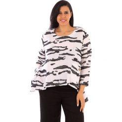 T-shirty damskie: Lniana koszulka w kolorze biało-antracytowym