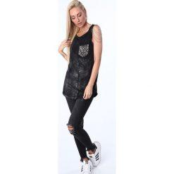 Bluzki damskie: Bluzka z łańcuszkami czarna ZZ1120