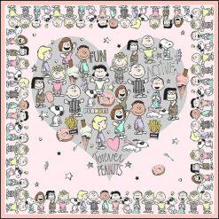 """Chusty damskie: Chusta """"Peanuts"""" w kolorze jasnoróżowym – 90 x 90 cm"""