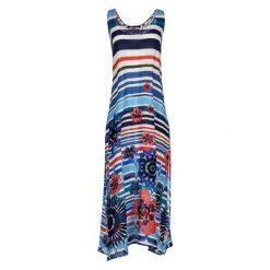 Desigual Sukienka Damska Flora S Niebieska. Niebieskie długie sukienki Desigual, s, z długim rękawem. W wyprzedaży za 259,00 zł.