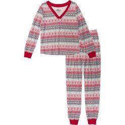 Piżamy damskie: Piżama bonprix biel wełny – ciemnoczerwono-szary z nadrukiem