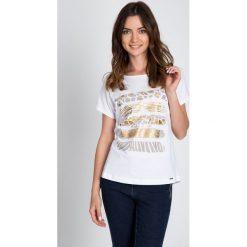 Bluzki asymetryczne: Biała bluzka ze zwierzęcym motywem QUIOSQUE