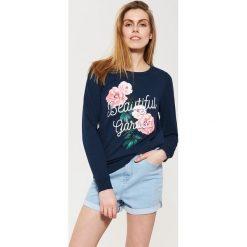 Bluzy rozpinane damskie: Bluza z kwiatowym nadrukiem - Granatowy