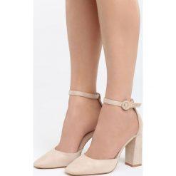 Beżowe Sandały Grown Woman. Brązowe sandały damskie na słupku marki Born2be, z materiału, na wysokim obcasie. Za 89,99 zł.