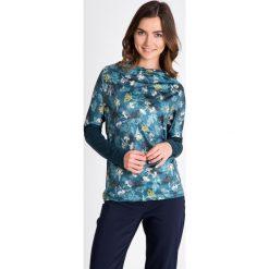 Bluzki damskie: Zielona bluzka we florystyczny print QUIOSQUE
