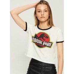 Bluzki, topy, tuniki: T-shirt Jurassic Park - Kremowy