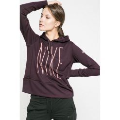 Nike - Bluza. Czarne bluzy sportowe damskie marki Nike, l, z nadrukiem, z dzianiny, z kapturem. W wyprzedaży za 139,90 zł.