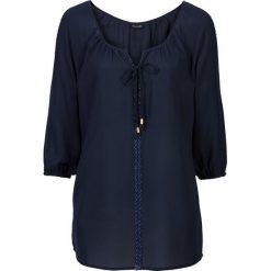 Bluzki damskie: Bluzka z koronkową aplikacją bonprix ciemnoniebieski