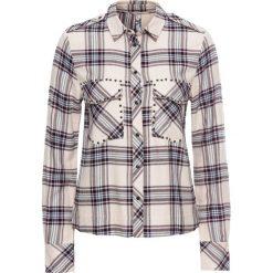 Bluzki damskie: Bluzka koszulowa z ćwiekami bonprix biel wełny w kratę
