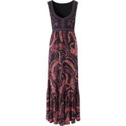 Sukienki hiszpanki: Długa sukienka bonprix czarno-koralowy