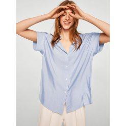 Mango - Koszula Line. Szare koszule damskie marki Mango, l, w paski, z poliesteru, klasyczne, z klasycznym kołnierzykiem, z krótkim rękawem. W wyprzedaży za 79,90 zł.
