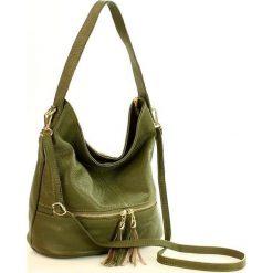 GIULIA Włoska torebka skórzana MAZZINI - zielona. Zielone torebki klasyczne damskie MAZZINI, w paski, ze skóry, zdobione. Za 249,00 zł.