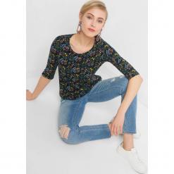 Koszulka w kwiaty. Brązowe bluzki longsleeves Orsay, xs, w kolorowe wzory, z bawełny. Za 39,99 zł.