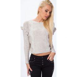 Sweter z falbanką przy rękawie beżowy MP32010. Brązowe swetry klasyczne damskie Fasardi, l, z falbankami. Za 44,00 zł.