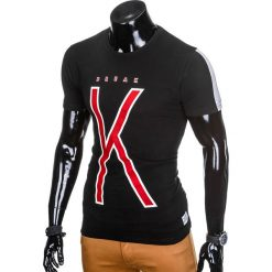 T-SHIRT MĘSKI Z NADRUKIEM S925 - CZARNY. Czarne t-shirty męskie z nadrukiem marki Ombre Clothing, m. Za 29,00 zł.