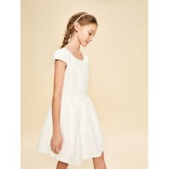 Sukienki dziewczęce z falbanami: Biała elegancka sukienka – Kremowy
