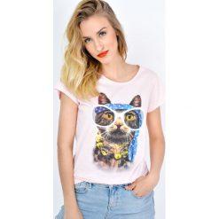 T-shirty damskie: T-shirt z kotem hipsterem