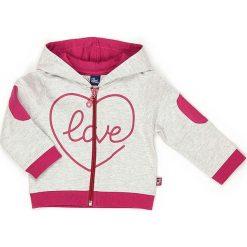 Bluza w kolorze biało-różowym. Białe bluzy dziewczęce rozpinane marki Street Monkey, z aplikacjami, z bawełny. W wyprzedaży za 69,95 zł.