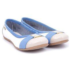 Baleriny damskie: Skórzane baleriny w kolorze biało-niebiesko-beżowym
