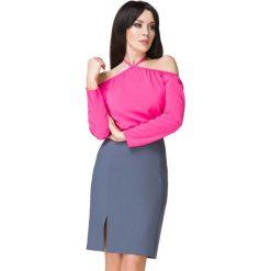 Różowa Bluzka Wiązana na Szyi. Czerwone bluzki na imprezę Molly.pl, l, z poliesteru, klasyczne, z klasycznym kołnierzykiem. Za 139,00 zł.
