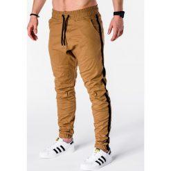SPODNIE MĘSKIE JOGGERY P670 - RUDE. Brązowe joggery męskie marki Ombre Clothing. Za 75,00 zł.
