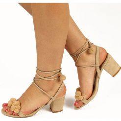Rzymianki damskie: Beżowe sandały damskie z pomponami Big Star W274140