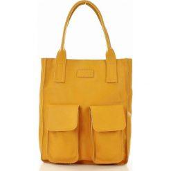 Shopper bag damskie: Torebka shopper z kieszeniami żółta MELODY