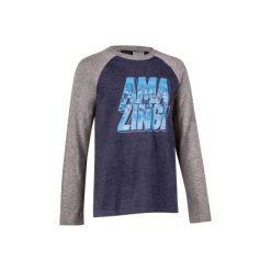 Koszulka Gym 500. Szare bluzki dziewczęce bawełniane marki DOMYOS, z kapturem. Za 14,99 zł.