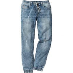 Dżinsy ze stretchem i  gumką w talii Slim Fit Straight bonprix niebieski. Niebieskie rurki męskie marki bonprix, z jeansu. Za 89,99 zł.
