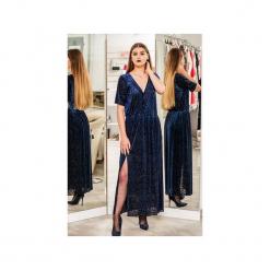 Sukienka Styl maxi. Niebieskie długie sukienki marki 3 for u, l, z tkaniny, klasyczne, z klasycznym kołnierzykiem, proste. Za 223,20 zł.