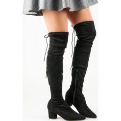 Buty zimowe damskie: CZARNE MUSZKIETERKI W SZPIC
