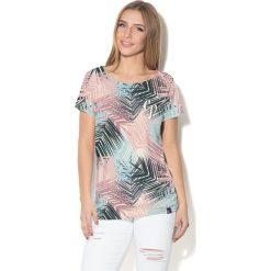 Colour Pleasure Koszulka damska CP-034  280 szaro-błękitno-różowa  r.  XS-S. Czerwone bluzki damskie Colour pleasure, s. Za 70,35 zł.