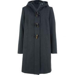 Płaszcz z materiału w optyce wełny z guzikami kołkami bonprix czarny. Czarne płaszcze damskie wełniane bonprix. Za 169,99 zł.