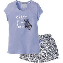 Piżamy damskie: Piżama z krótkimi spodenkami bonprix lawenda – czarno-biały z nadrukiem