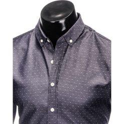 Koszule męskie na spinki: KOSZULA MĘSKA Z DŁUGIM RĘKAWEM K407 – GRAFITOWA