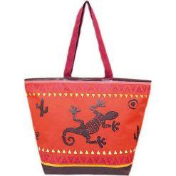 """Torba plażowa """"Bohème"""" w kolorze czerwonym - 35 x 58 x 23 cm. Czerwone torby plażowe Le Comptoir de la Plage, z tworzywa sztucznego. W wyprzedaży za 38,95 zł."""