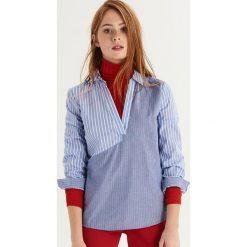 Koszula w nieregularne prążki - Niebieski. Niebieskie koszule wiązane damskie Sinsay, l, w prążki. Za 69,99 zł.